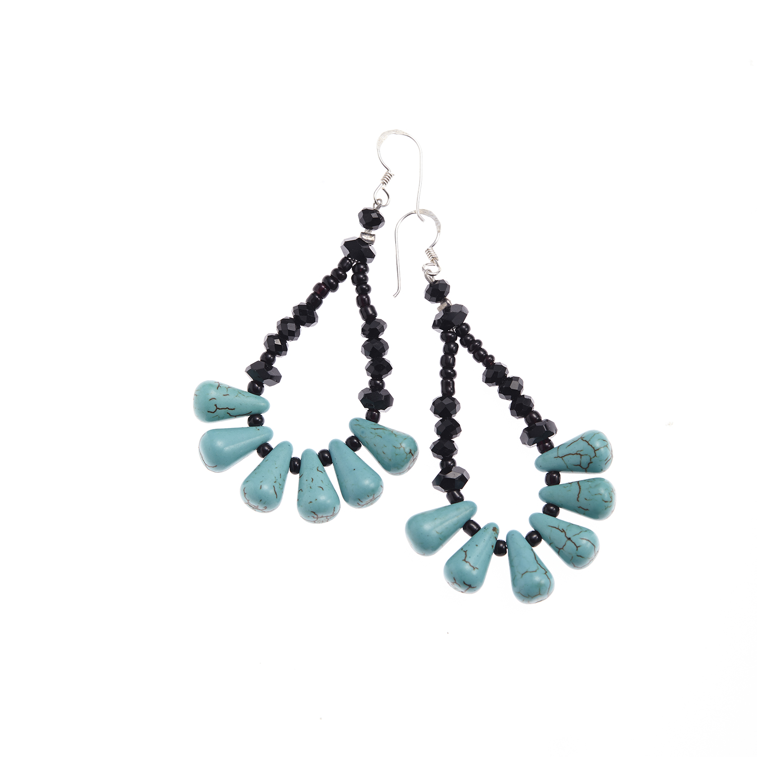 Silver-Plated Brass Blue Turquoise Gemstone Triangle Drop Dangle Earrings 2.2