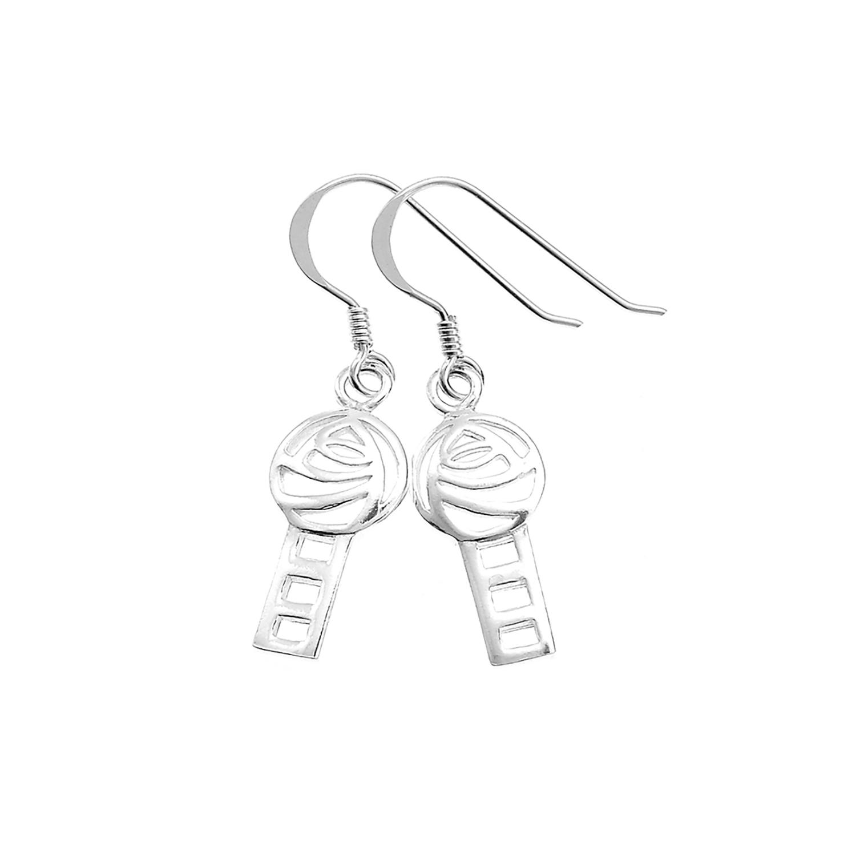 925 Sterling Silver Mackintosh Rose Dangle Hook Earrings 1.2
