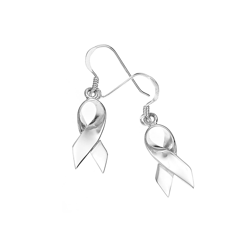 925 Sterling Silver Cure Bow Ribbon Dangle Earrings 1.3