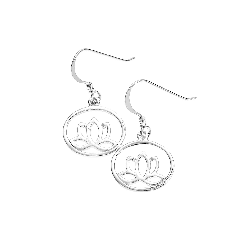 925 Sterling Silver Oval Open Lotus Dangle Earrings 1