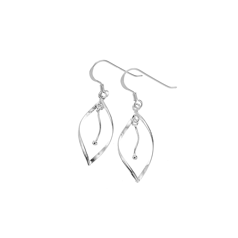 925 Sterling Silver Petal Leaf Curve Dangle Earrings 1.5