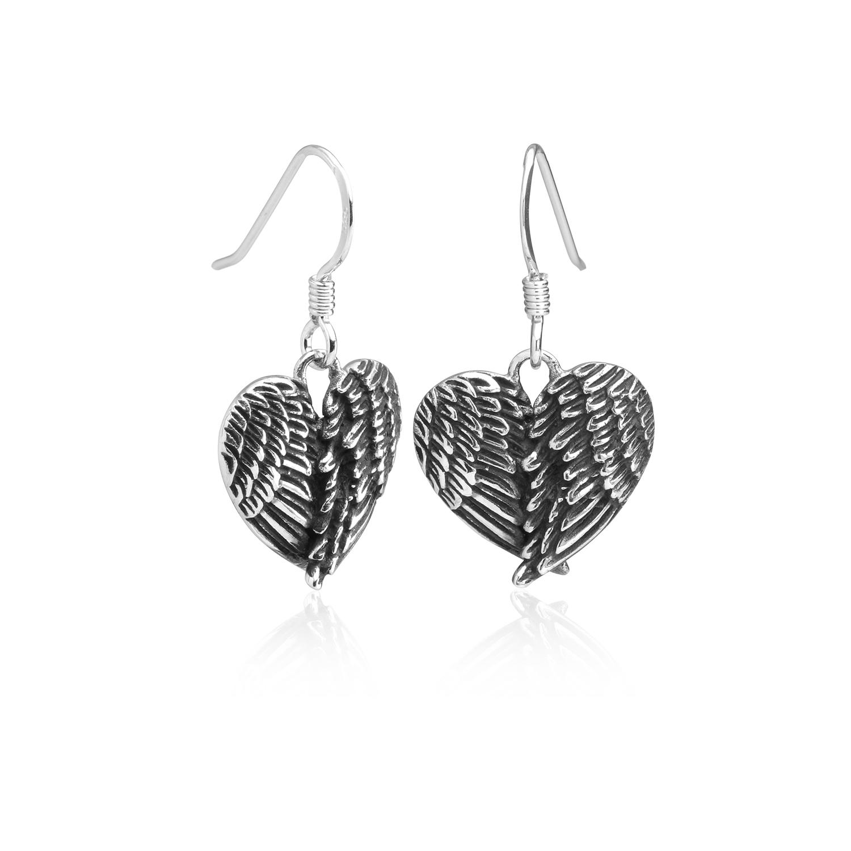 925 Sterling Silver Angel Wings Heart Feathers Dangle Earrings 1