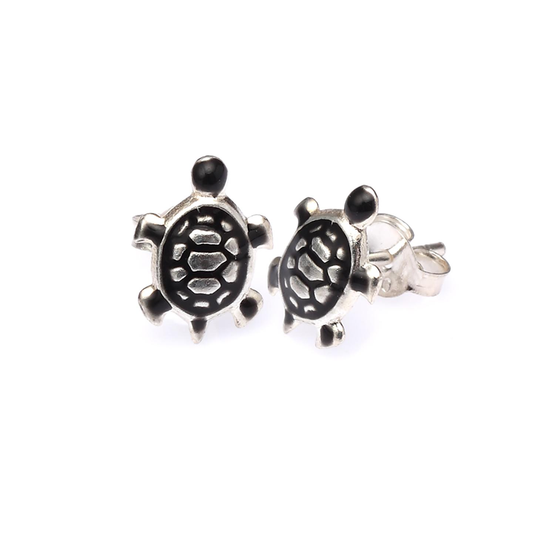 925 Sterling Silver Black Turtle Post Stud Earrings - Nickel Free