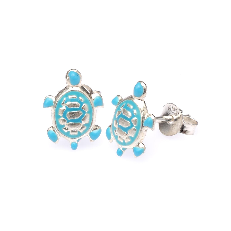 925 Sterling Silver Blue Turtle Post Stud Earrings - Nickel Free