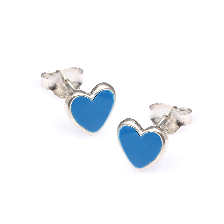 925 Sterling Silver Blue Tiny Heart Post Stud Earrings - Nickel Free