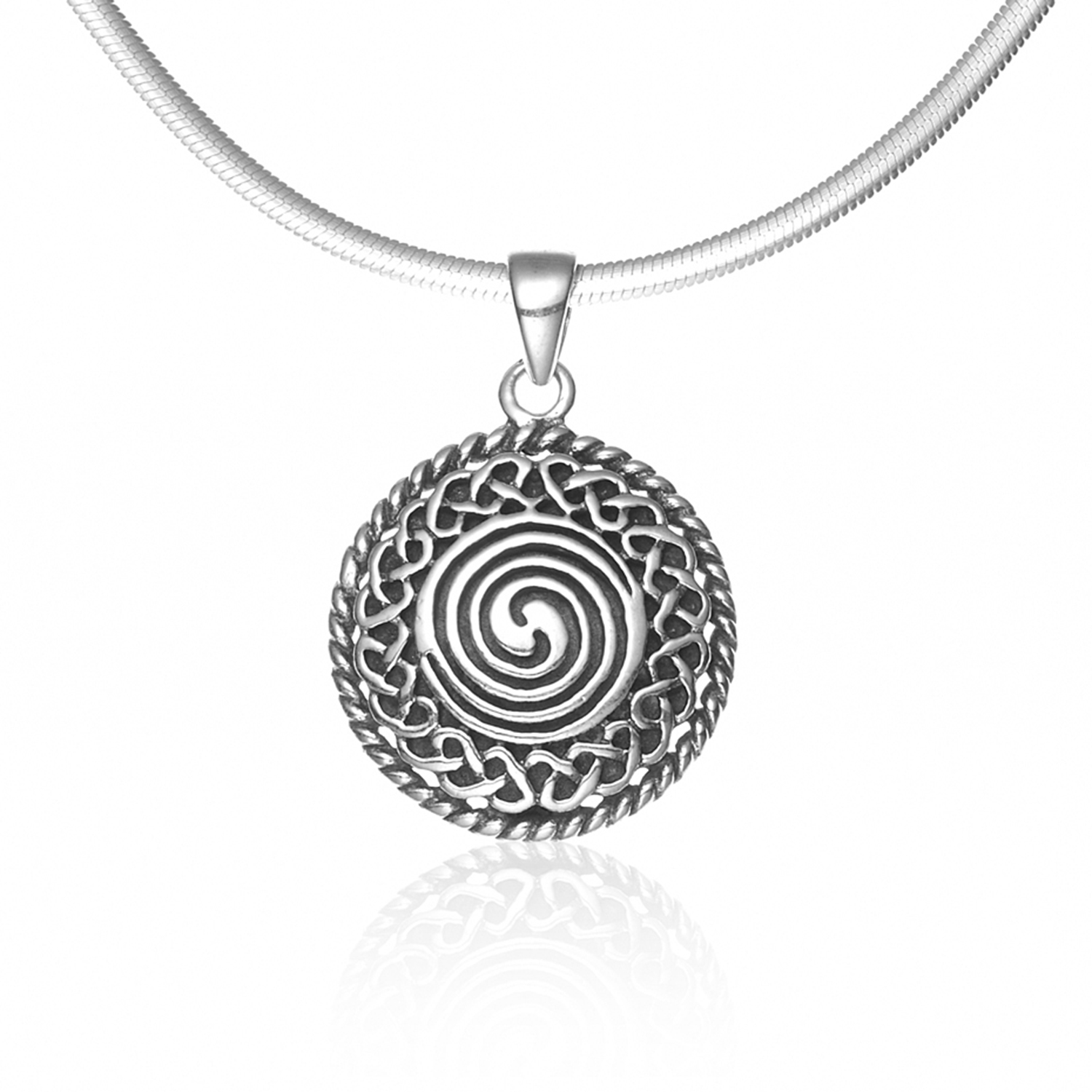 925 Sterling Silver Celtic Knot Classic Round 18 inches Style Pendant Necklace - Nickel Free