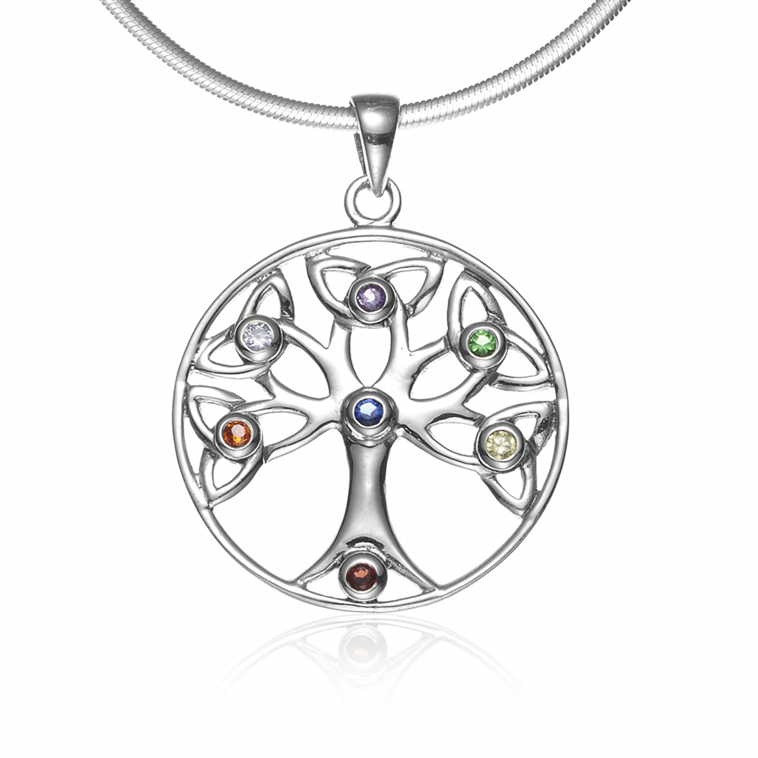 925 Sterling Silver Celtic Knot Trinty Tree of Life Seven (7) Chakras Pendant Necklace, 18 inches
