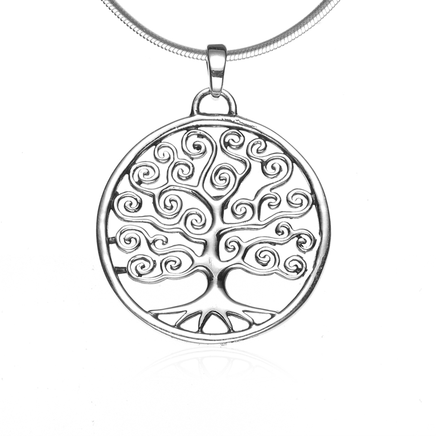 925 Sterling Silver Filigree Tree of Life Round Swirl Pendant Necklace, 18 inches - Nickel Free