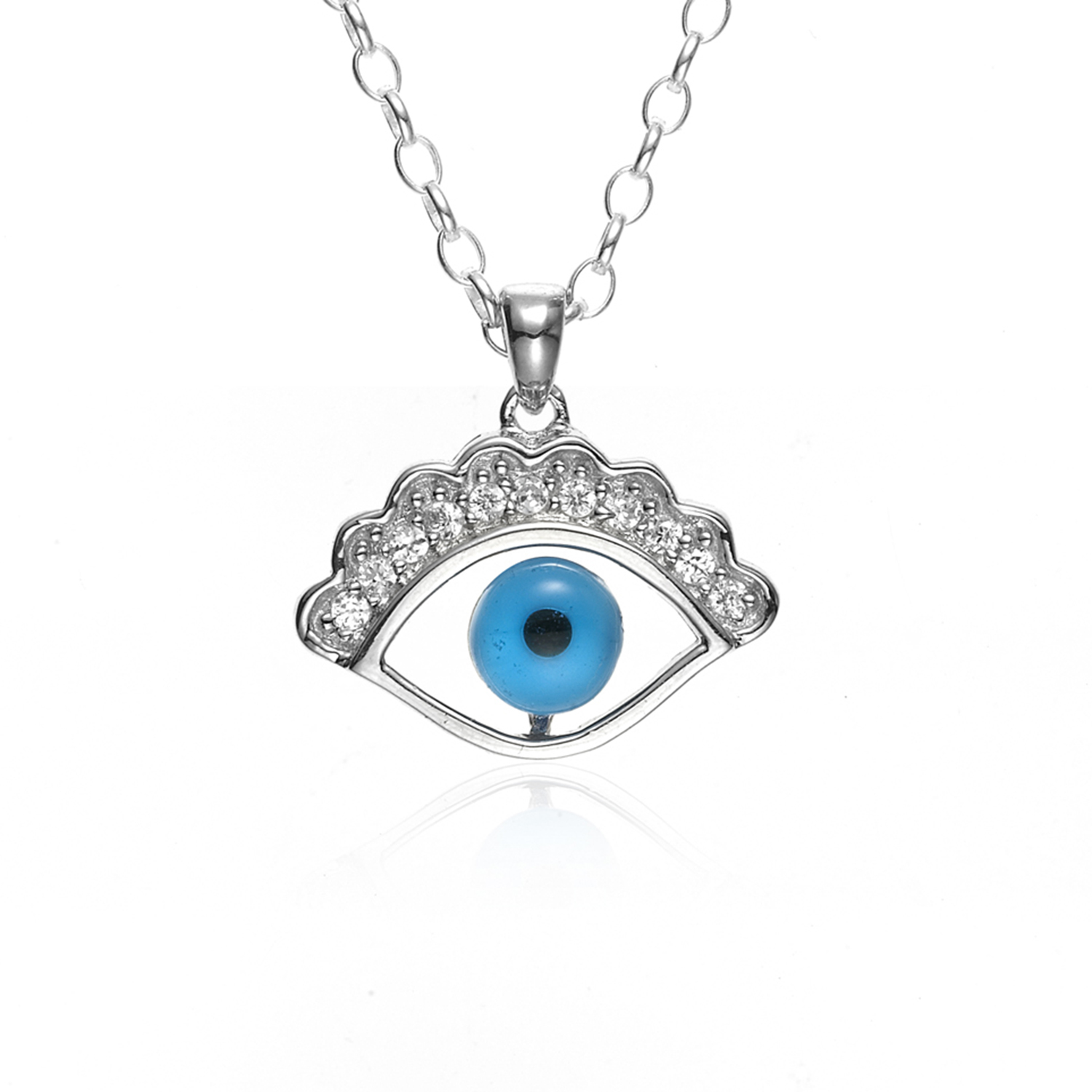 925 Sterling Silver Cubic Zirconia Blue Lapis Evil Eye Pendant Necklace with Rhodium Plated Chain