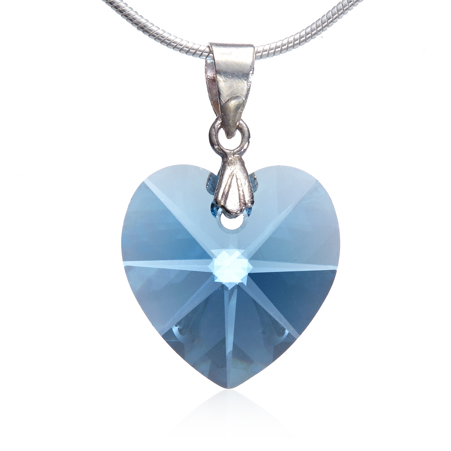 925 Sterling Silver Blue Topaz Heart Pendant Necklace, 18 inches - Nickel Free