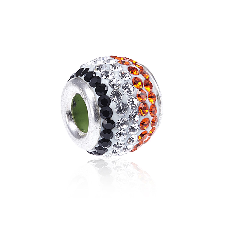 925 Sterling Silver Striped Red Black White Swarovski Crystal Ball Bead Charm Fits Pandora Bracelet