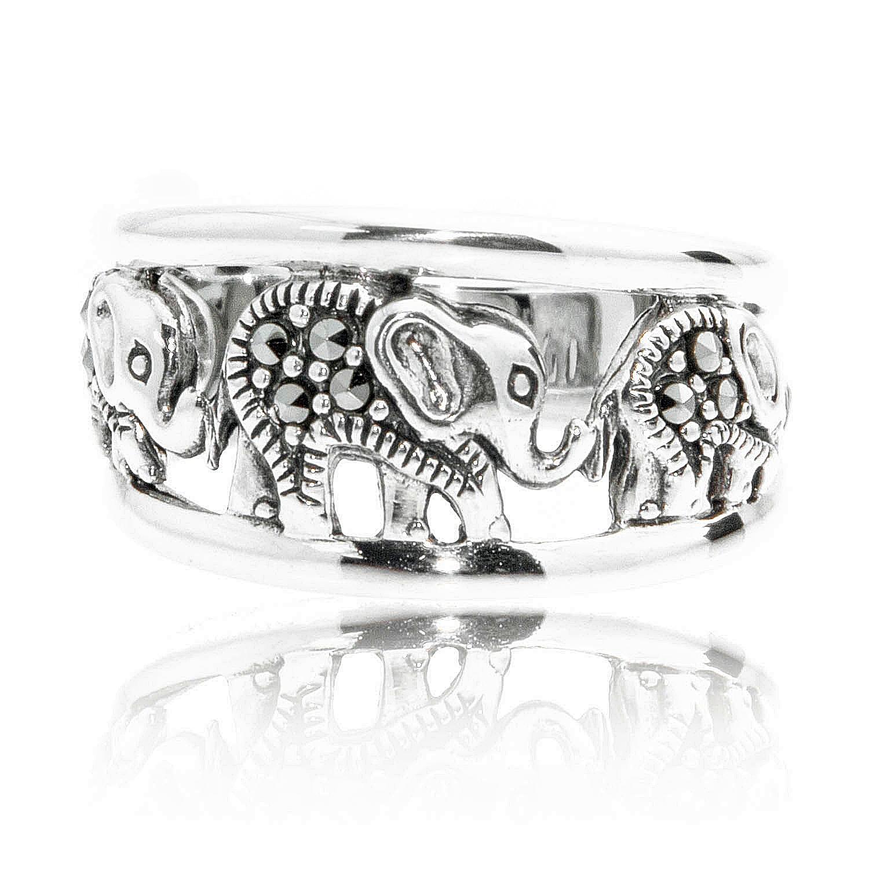 925 Oxidized Sterling Silver Swarovski Marcasite Elephants Band Ring Size 6 - Nickel Free