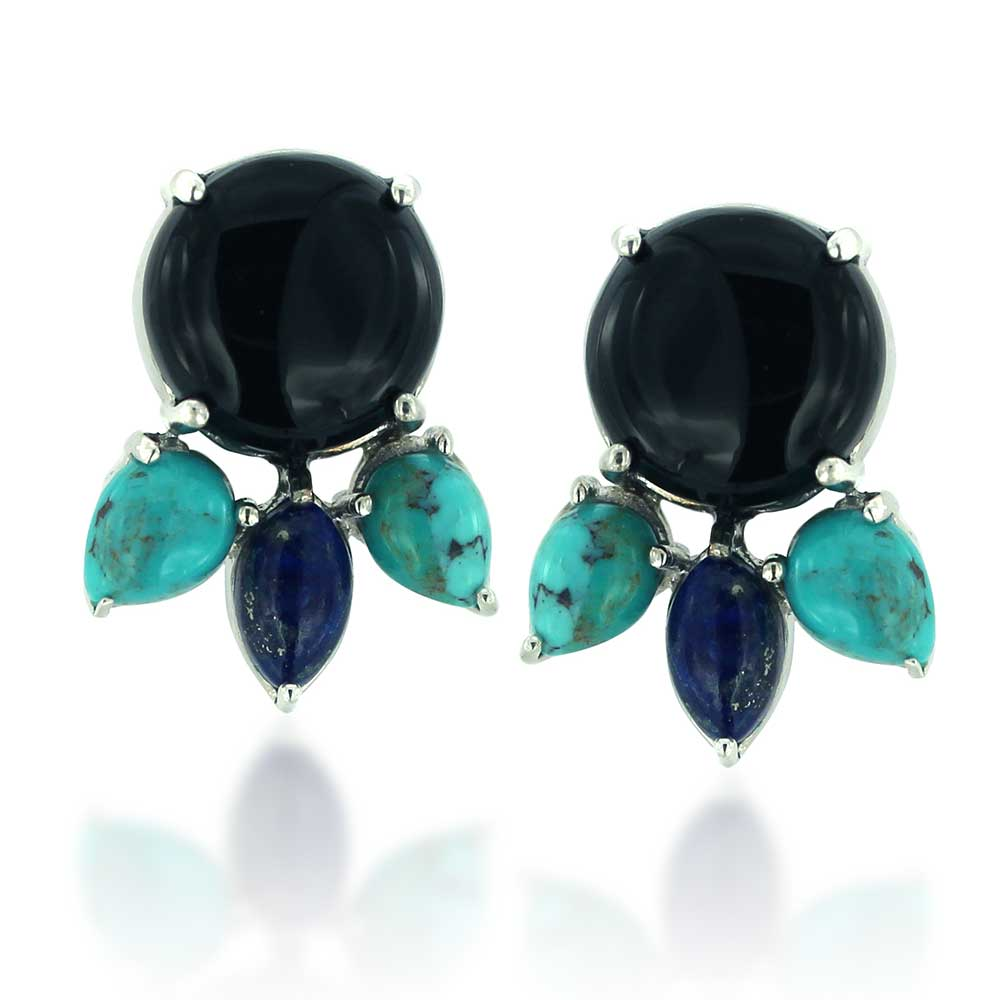 Rhodium Plated 925 Sterling Silver Black Onyx, Turquoise and Blue Lapis Gemstone Stud Drop Earrings