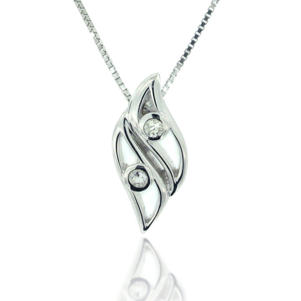 925 Sterling Silver and White Topaz Elegant Leaf Pendant Necklace, 18 inch Chain