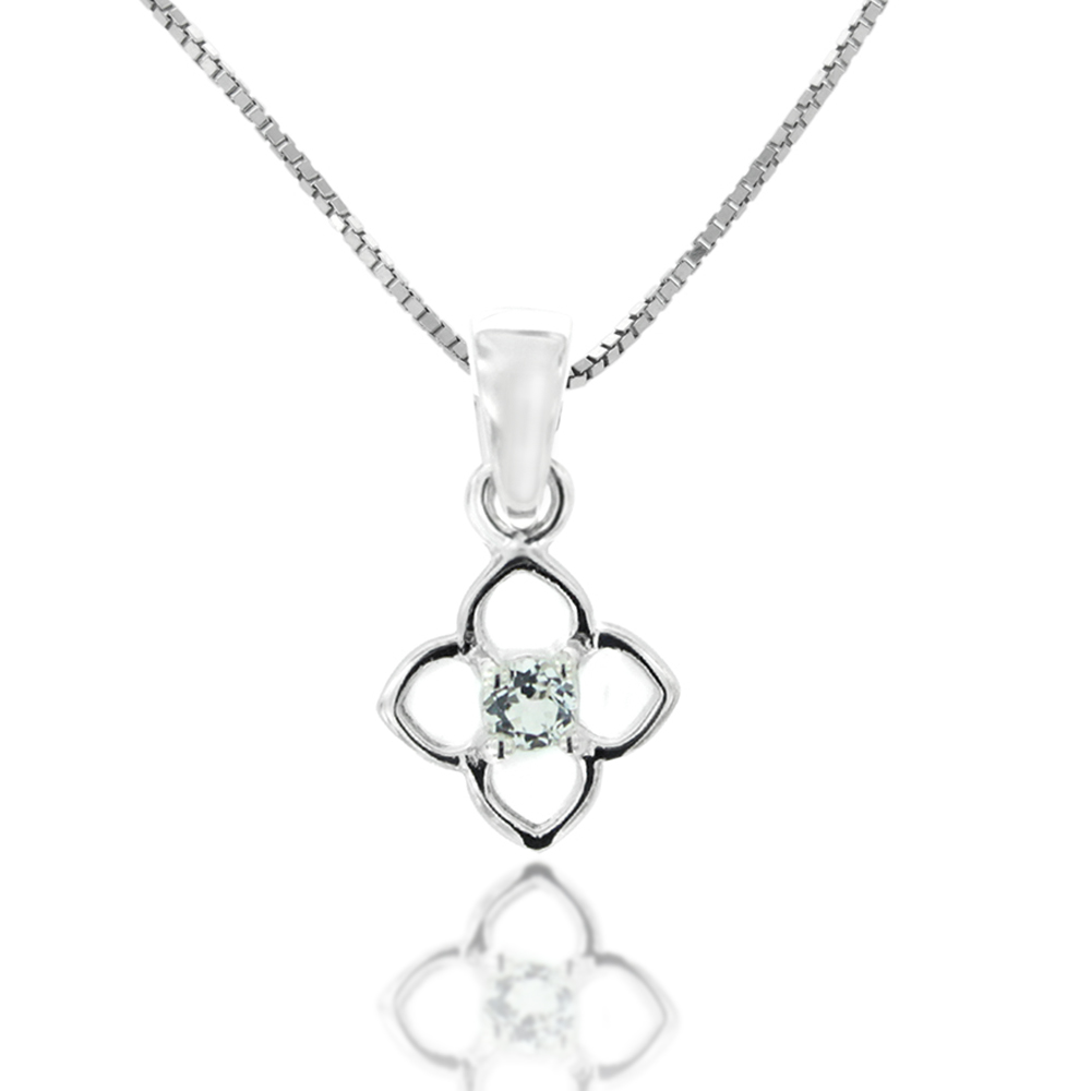 925 Sterling Silver and White Topaz Celtic Flower Pendant Necklace, 18 inch Chain