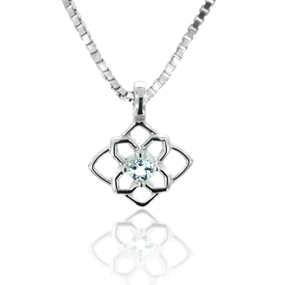 925 Sterling Silver and White Topaz Square Flower Pendant Necklace, 18 inch Chain
