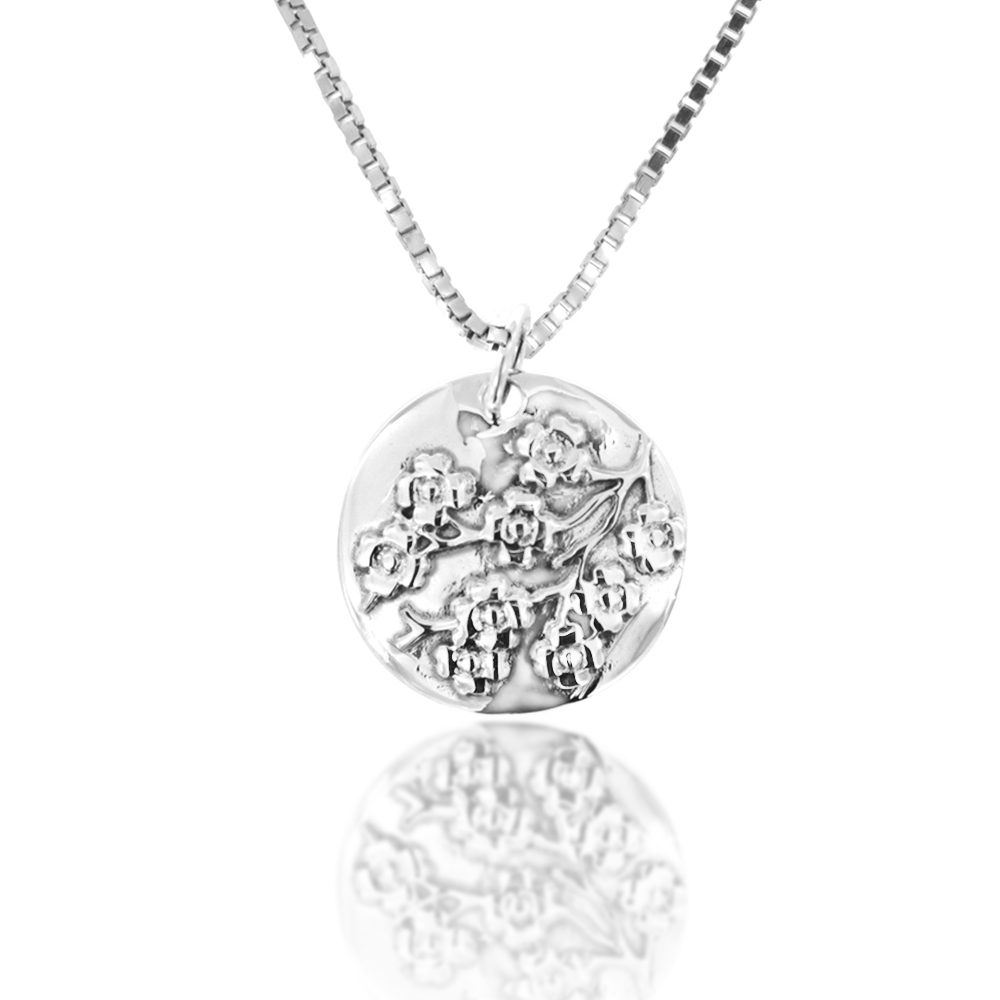 925 Sterling Silver Flower Blossom Circle Pendant Necklace, 18 inch Chain