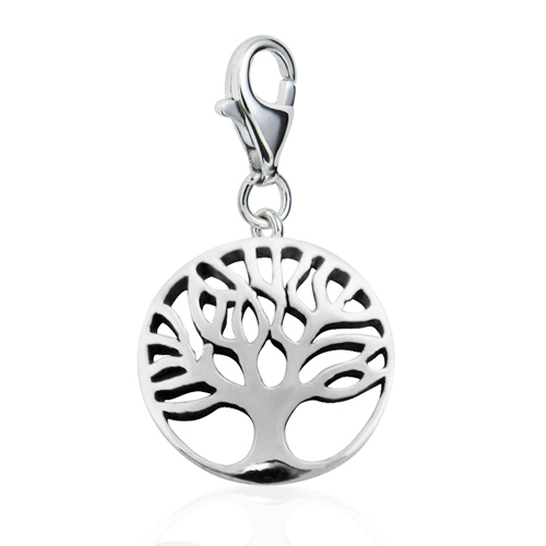 Sterling Silver Cut Out Tree of Life with Lobster Clasp Charm for Charm Bracelet