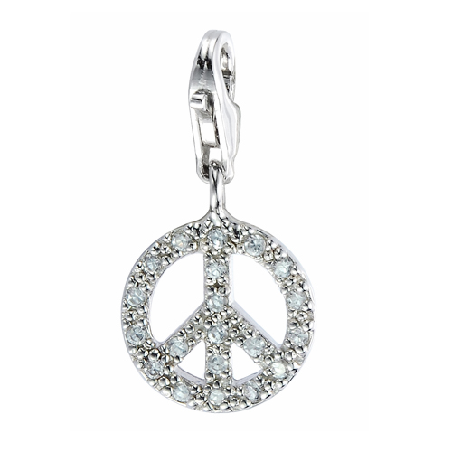925 Sterling Silver Adorable Swarovski Crystal Peace Sign Symbolic Lobster Clasp Charm