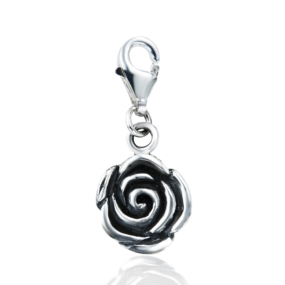 925 Sterling Silver Detailed Rose Charm with Lobster Clasp for Charm Bracelet