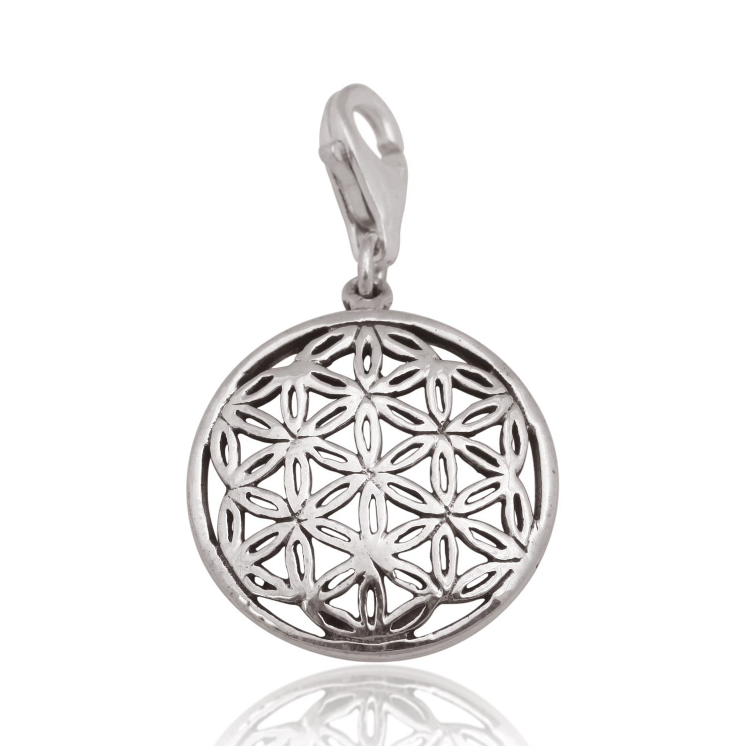 925 Sterling Silver Oxidized Detailed Flower of Life Lobster Clasp Charm