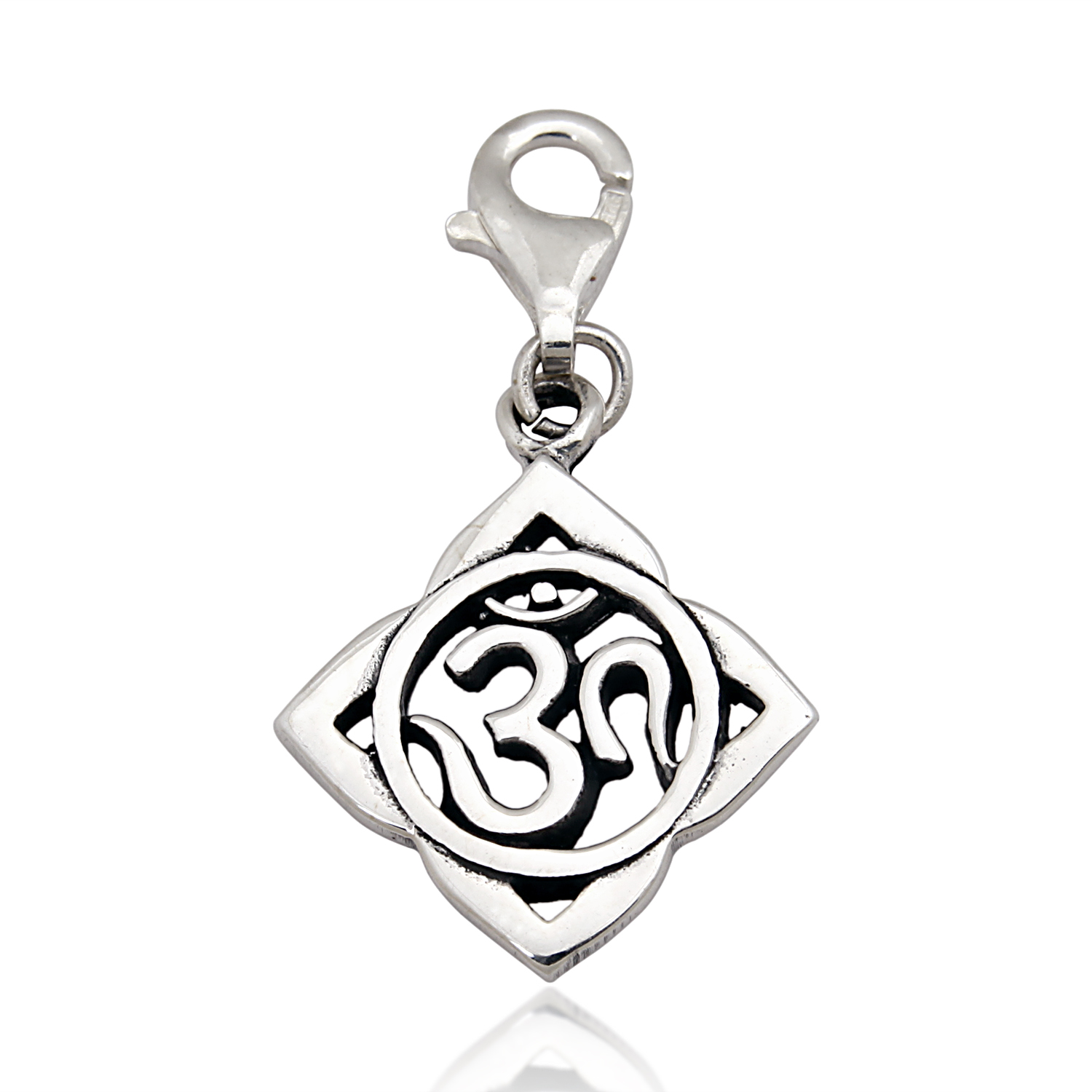 925 Sterling Silver Oxidized Om Ohm Hindu Yoga Symbol, Lotus Flower Lobster Clasp Charm