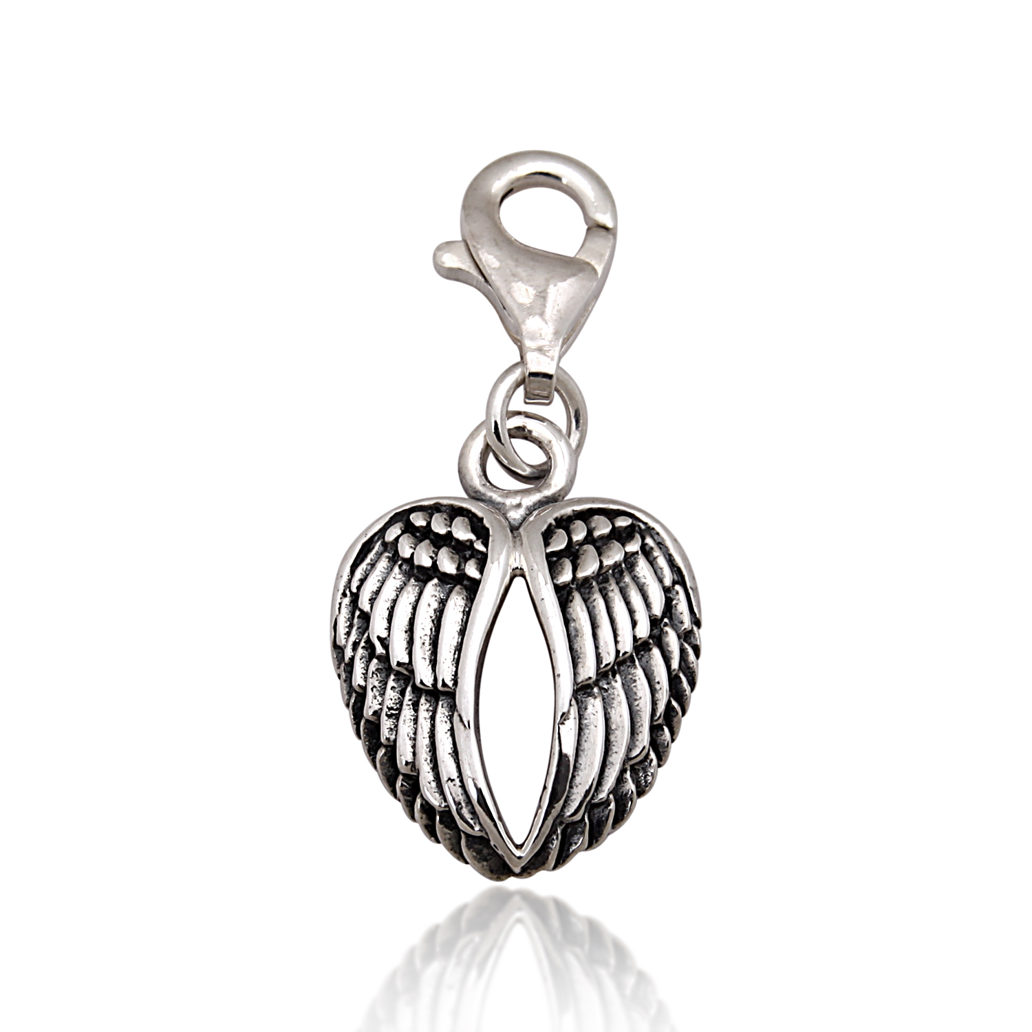 925 Sterling Silver Oxidized Detailed Double Angel Wings, Feather Lobster Clasp Charm