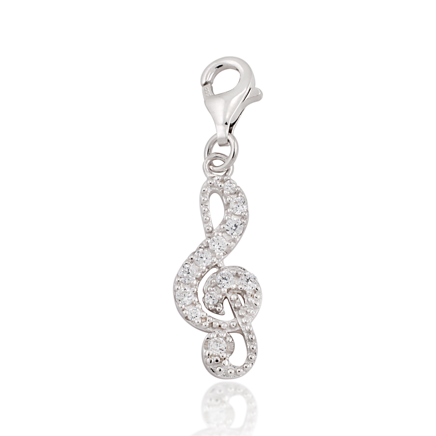 925 Sterling Silver Clear Cubic Zirconia CZ Treble Clef Music Note Lobster Clasp Dangle Charm