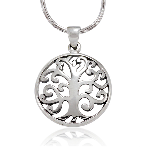 925 Sterling Silver Swirl Scroll Tree of life Pendant Necklace,18 inches