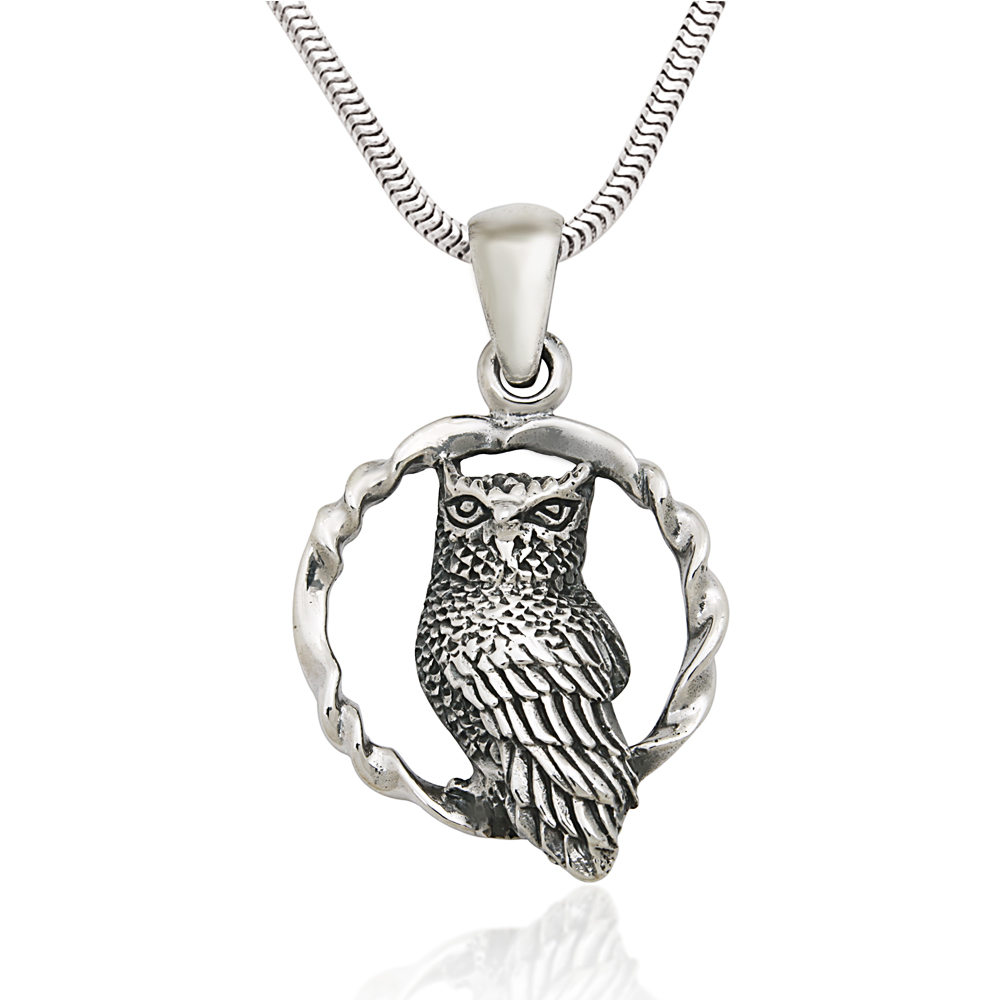 925 Sterling Silver Wise Midnight Owl Pendant Necklace, 18 inches