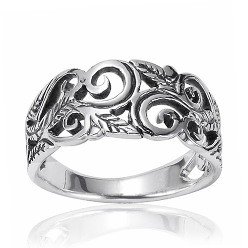 925 Oxidized Sterling Silver 8mm Filigree Leaves Swirl Vine Wreath Ring, Size 7