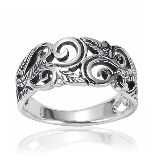 925 Oxidized Sterling Silver 8mm Filigree Leaves Swirl Vine Wreath Ring, Size 7