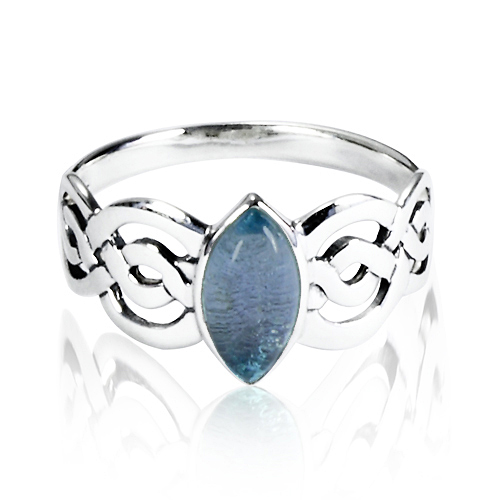 925 Sterling Silver Natural Blue Topaz Celtic Double Infinity Knot Band Ring - Nickle Free Size 8