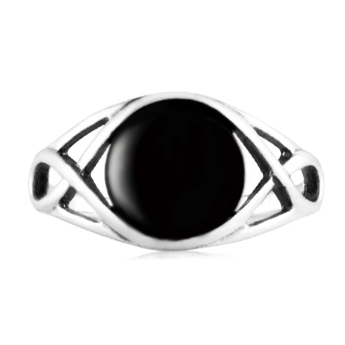 925 Sterling Silver Genuine Black Onyx Celtic Knot Triquetra Trinity Knot Ring - Size 9