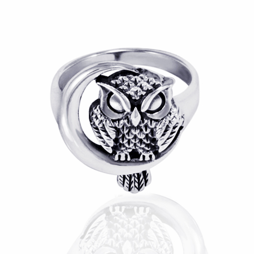 925 Oxidized Sterling Silver Detailed Midnight Owl with Crescent Moon Ring - Nickle Free Size 8