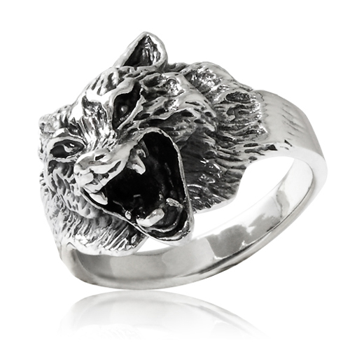 Men's 925 Sterling Silver Heavy Howling Wild Wolf Solid Ring - Nickle Free Size 12