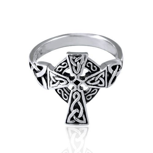 925 Oxidized Sterling Silver Antique Celtic Irish Cross Ring - Nickle Free Size 7