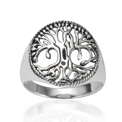 925 Sterling Silver 17 mm Detailed Celtic Tree of Life Round Shape Band Ring - Nickel Free Size 6