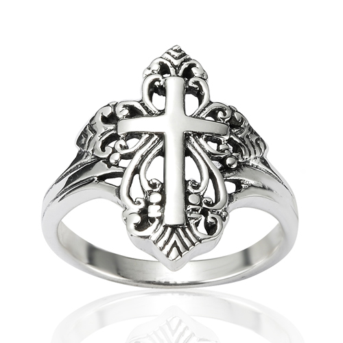 925 Sterling Silver Detailed Filigree Calatrava Cross Victorian Style Ring - Nickel Free Size 8