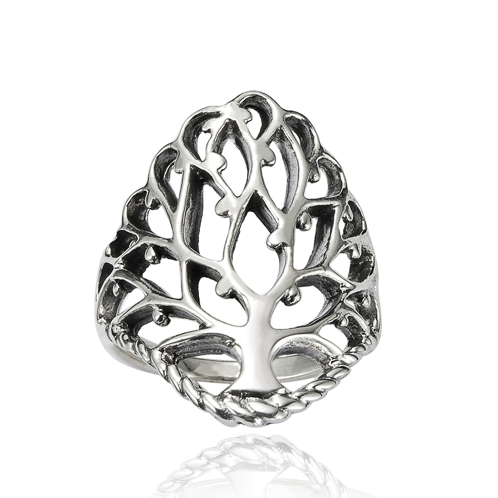 925 Sterling Silver 26 mm Detailed Large Celtic Tree of Life Band Ring - Nickel Free Size 7