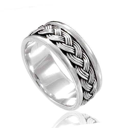 925 Sterling Silver 8 mm Braided Woven Wave Celtic Band Ring - Nickle Free Size 11