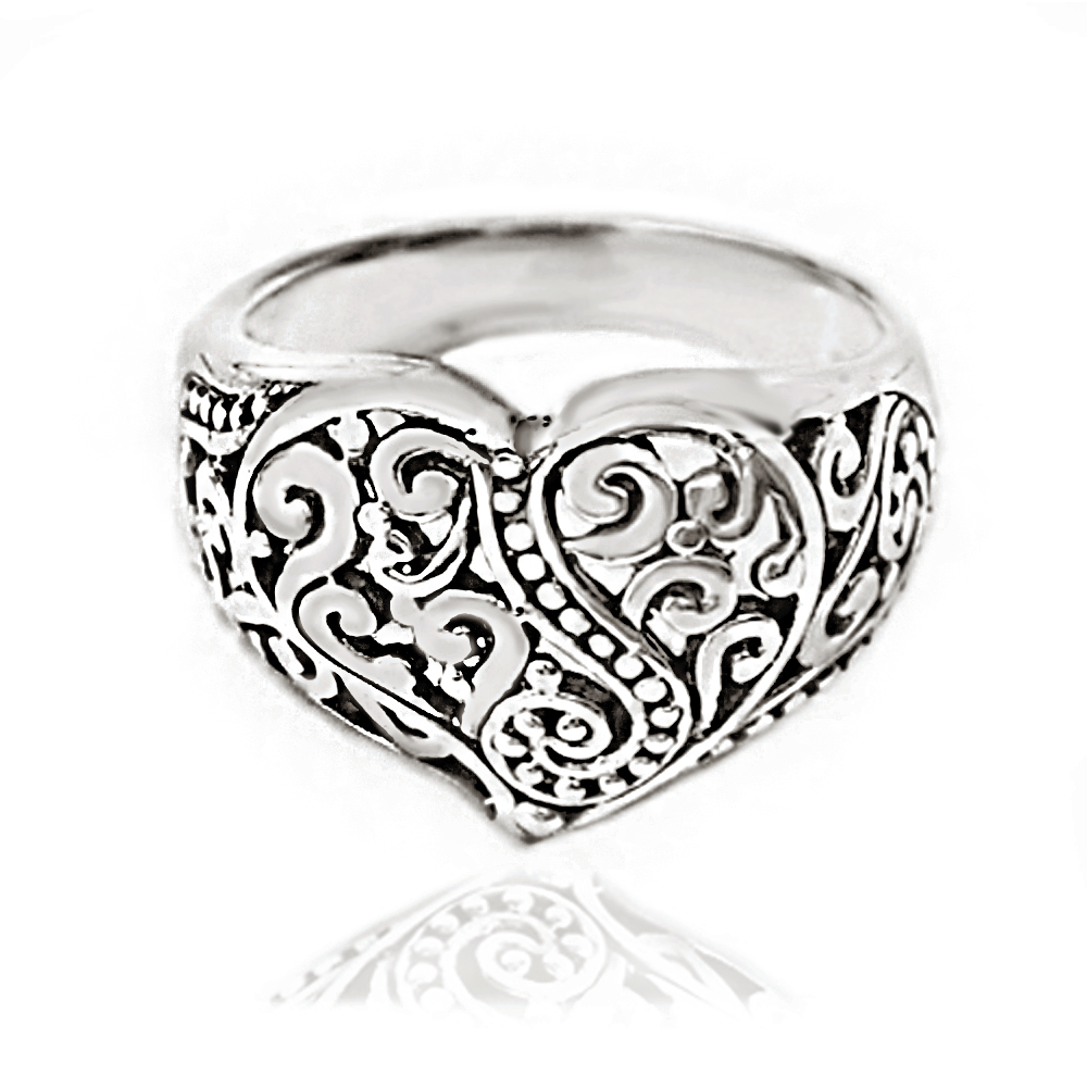 925 Oxidized Sterling Silver Detailed Filigree Heart Ring - Nickle Free Size 6