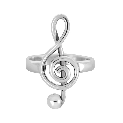 925 Sterling Silver Treble G-Clef Musician Ring - Nickel Free Size 6