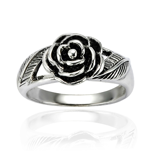 925 Oxidized Sterling Silver Detailed Rose Flower with Leaves Band Ring - Nickel Free Size 6