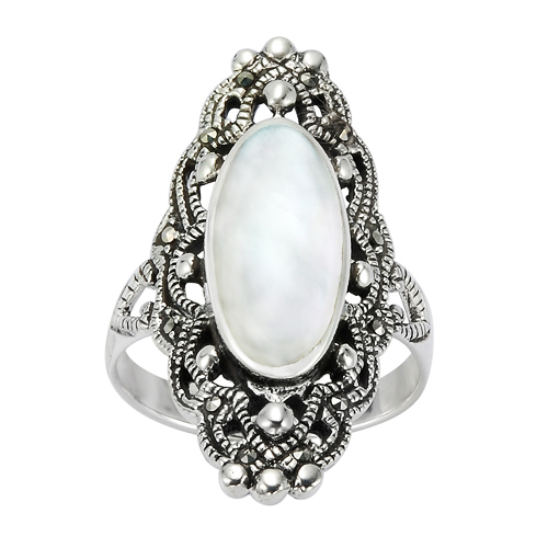 925 Sterling Silver 30 mm Filigree Genuine Marcasite and Natural Mother of Pearl Ring - Size 6