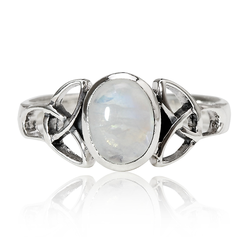 925 Sterling Silver 9 mm Genuine White Oval Moonstone Celtic Band Ring - Nickel Free Size 8