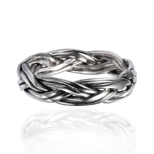 925 Oxidized Sterling Silver 4.5 mm Braided Woven Wave Antique Style Band Ring - Size 9