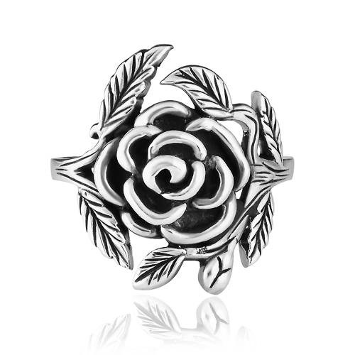925 Sterling Silver 20 mm Vintage Style Detailed Rose with Leaves Ring - Nickel Free Size 7