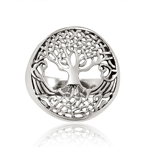925 Sterling Silver 18 mm Detailed Celtic Tree of Life Round Ring - Size 9