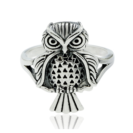 .925 Sterling Silver Oxydized Detail Owl Ring for Women, Teen, Girls - Nickle Free - Size 6